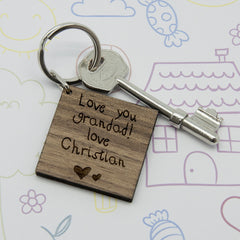 Square Wooden Personalised Keyring - Kids Handwriting - Luxe Gift Store