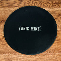 Open Personalised Swirl Brackets Round Slate Cheese Board - Luxe Gift Store