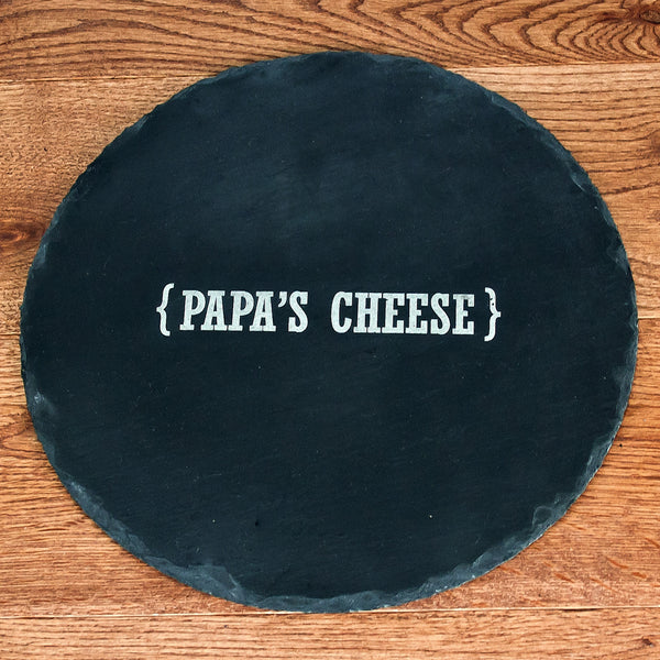 Round Slate Cheese Board Personalised With Name & Swirl Brackets
