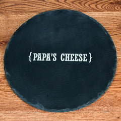 Round Slate Cheese Board Personalised With Name & Swirl Brackets -