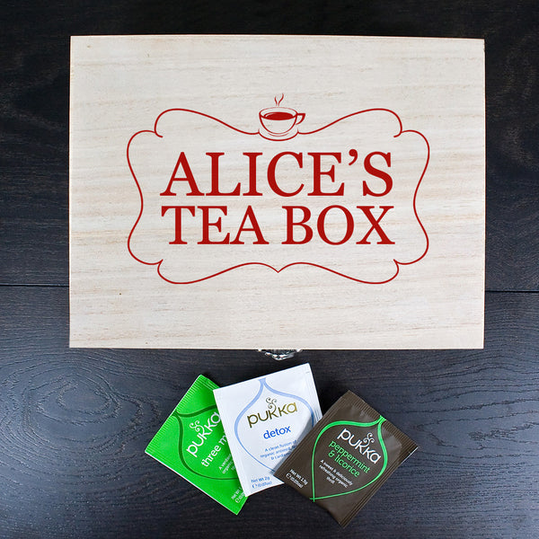Wooden Tea Box With Personalised Name - Multicoloured