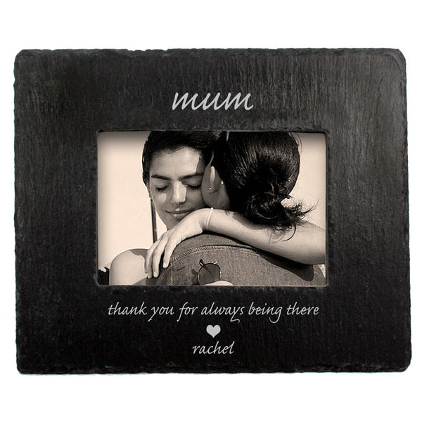 Mum's 'Thank You Mum' Personalised Slate Photo frame