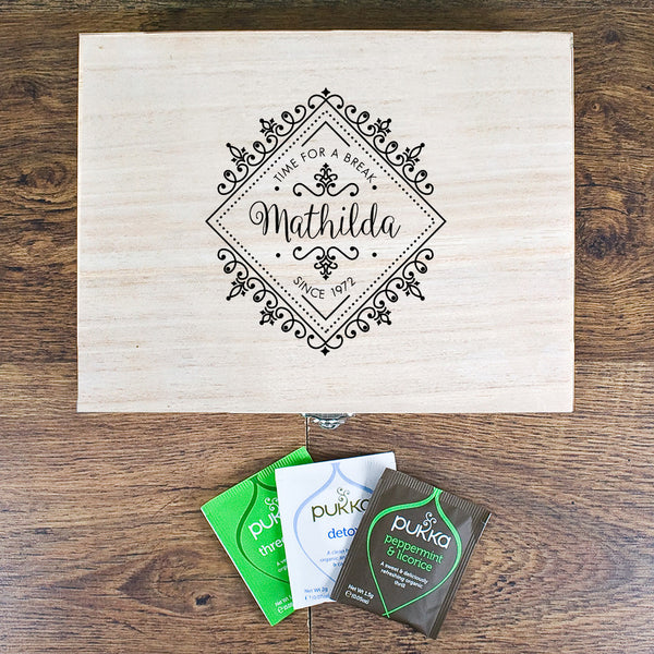 Time For a Break Personalised Wooden Tea Box
