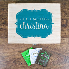 Time For Tea! Personalised Wooden Tea Box - Blue, Green, Yellow or Red - Luxe Gift Store - 1