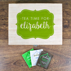 Time For Tea! Personalised Wooden Tea Box - Blue, Green, Yellow or Red - Luxe Gift Store - 3