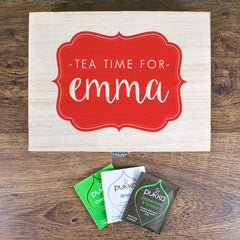 Time For Tea! Personalised Wooden Tea Box - Blue, Green, Yellow or Red - Luxe Gift Store - 2