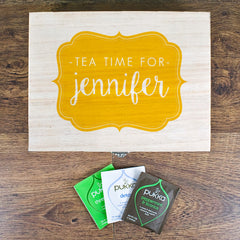 Time For Tea! Personalised Wooden Tea Box - Blue, Green, Yellow or Red - Luxe Gift Store - 4
