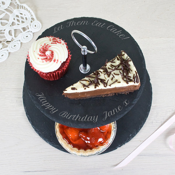 Two Tiered Personalised Slate Cake Stand