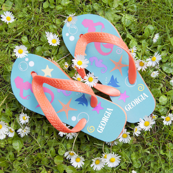 Girl's Mermaid Personalised Flip Flops