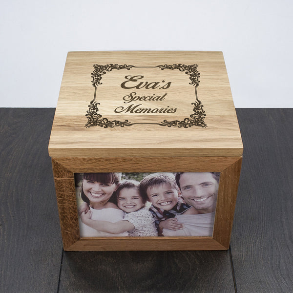Vintage Personalised Style Oak Photo Keepsake Box