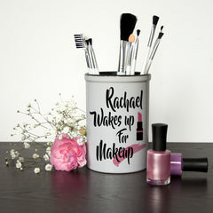 Girl's 'Personalised Makeup Brush Holder 'Wakes Up For Makeup' - Luxe Gift Store