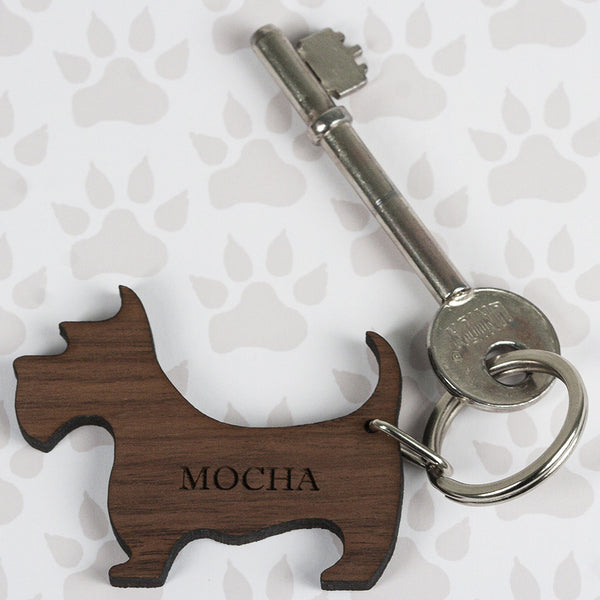 Walnut Wood Dog Shaped Personalised Keyring