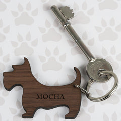 Walnut Wood Dog Shaped Personalised Keyring - Luxe Gift Store