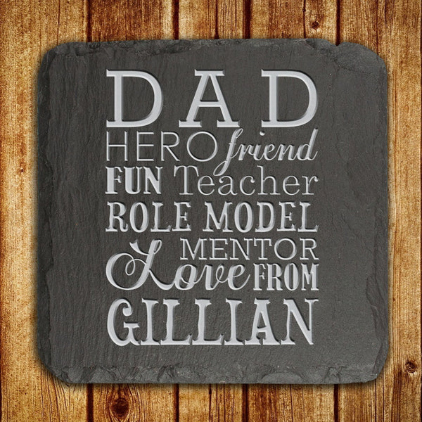Dad's 'What Dad Means To You' Personalised Slate Keepsake