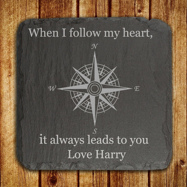 Slate Personalised Keepsake 'When I Follow My Heart, It Always Leads To You'