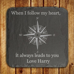 Slate Personalised Keepsake 'When I Follow My Heart, It Always Leads To You' - Luxe Gift Store