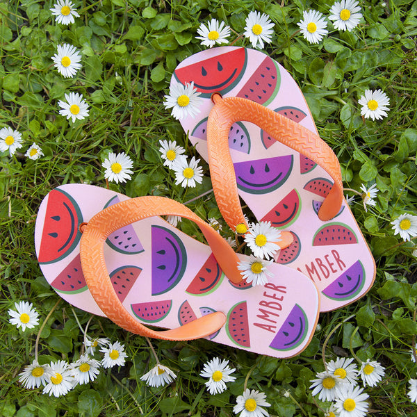 Girl's Wild Watermelon Personalised Flip Flops