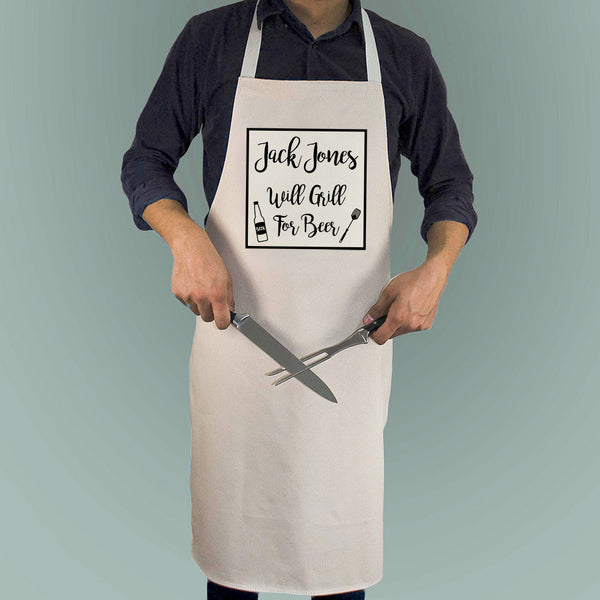 Men's 'Will Cook For Beer' Personalised Apron