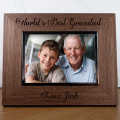 Grandad's 'Worlds Best Granddad' Personalised Engraved Photo Frame - Luxe Gift Store
