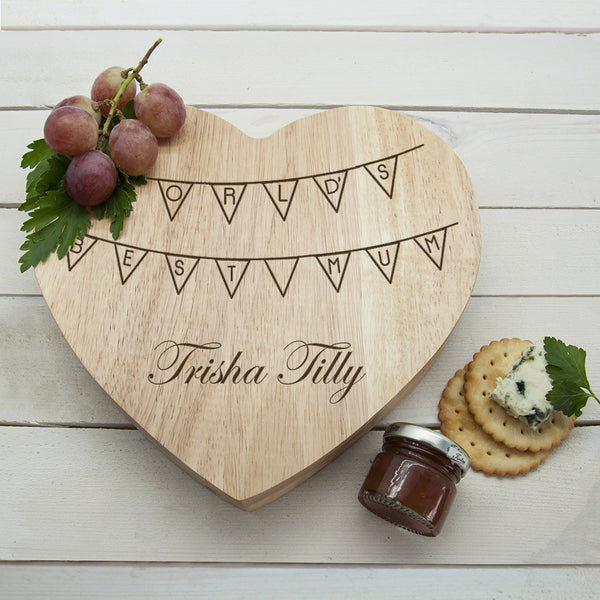 Mum's 'World's Best Mum' Personalised Heart Cheese Board