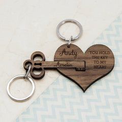Keyring Personalised Set Of Two 'You Hold The Key To My Heart' -
