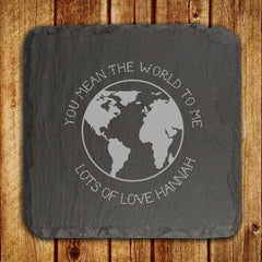 Slate Personalised Keepsake 'You Mean The World To Me' -