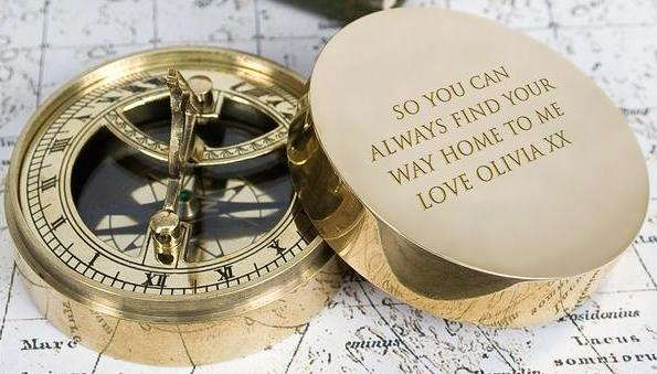 Adventurer's Personalised Brass Sundial and Compass