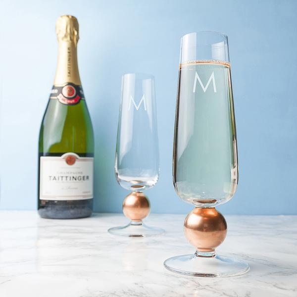 Rose Gold Champagne Glasses Set of 2 Personalised