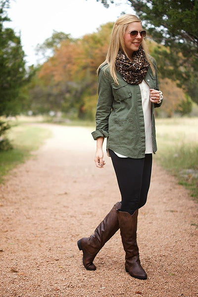 fe4528e3350bb A long, open button-down shirt with boots and a scarf plus leggings make a  great and super comfy outfit.