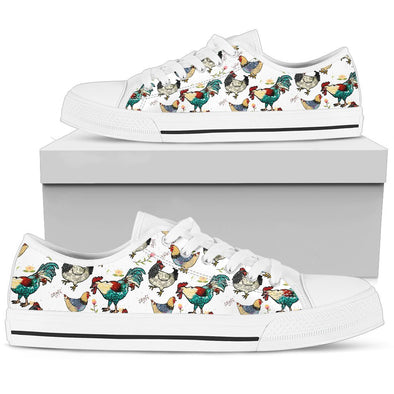 Chicken Rooster Pattern Low Tops (White)