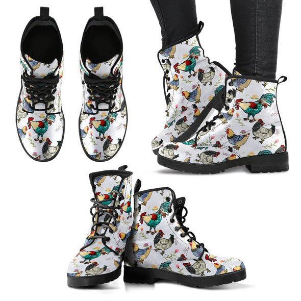 Chicken Rooster Pattern Boots (White)