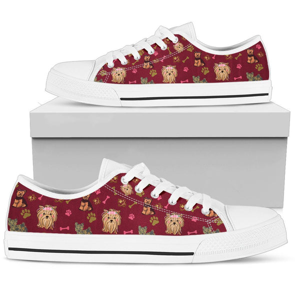 Yorkie Low-Top Pattern Shoes (Maroon)