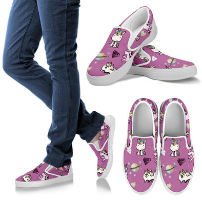 Unicorn Slip Ons Pattern Shoes (Pink)
