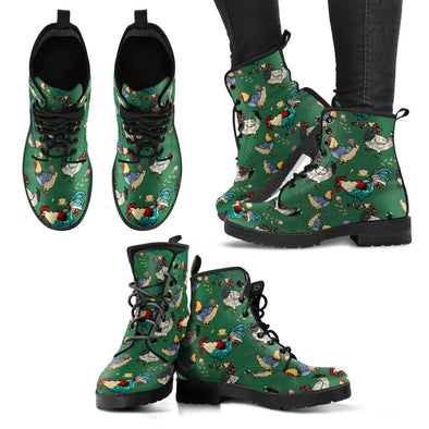 Chicken Rooster Pattern Boots  (Green)