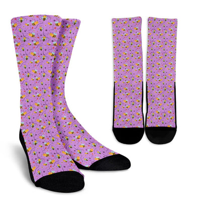 Bee Pattern Socks (Violet)