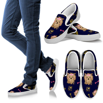 Yorkie Slip Ons Pattern Shoes (Navy Blue)