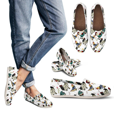 Chicken Rooster Pattern Casual Shoes (White)