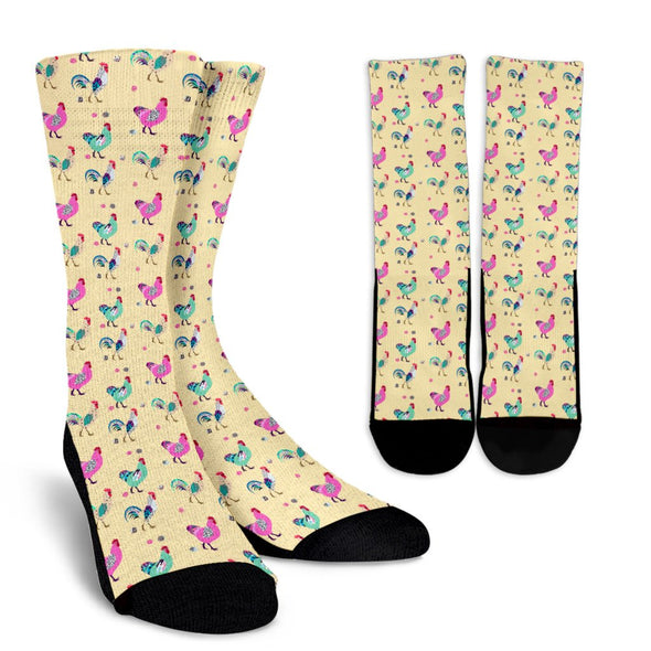 Funky Chicken Pattern Socks (Yellow)