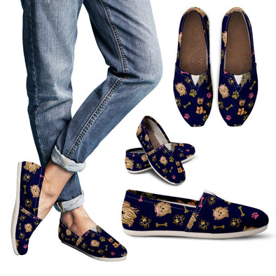Yorkie Pattern Casual Shoes (Navy Blue)