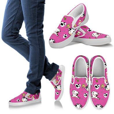 Cow Pattern Slip Ons (Pink)