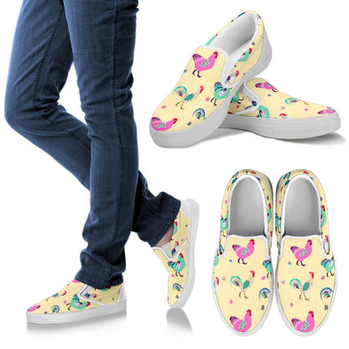 Funky Chicken Pattern Slip Ons (Yellow)