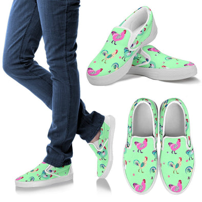 Funky Chicken Pattern Slip Ons (Light Green)
