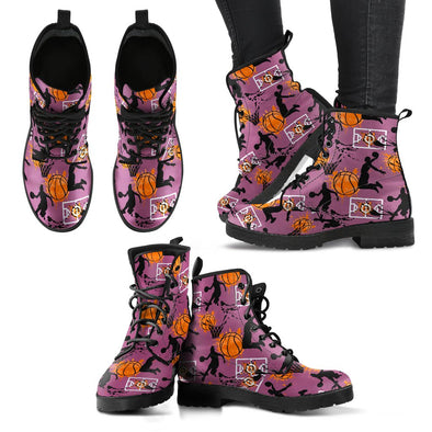 Basketball Pattern Leather Boots (Violet)