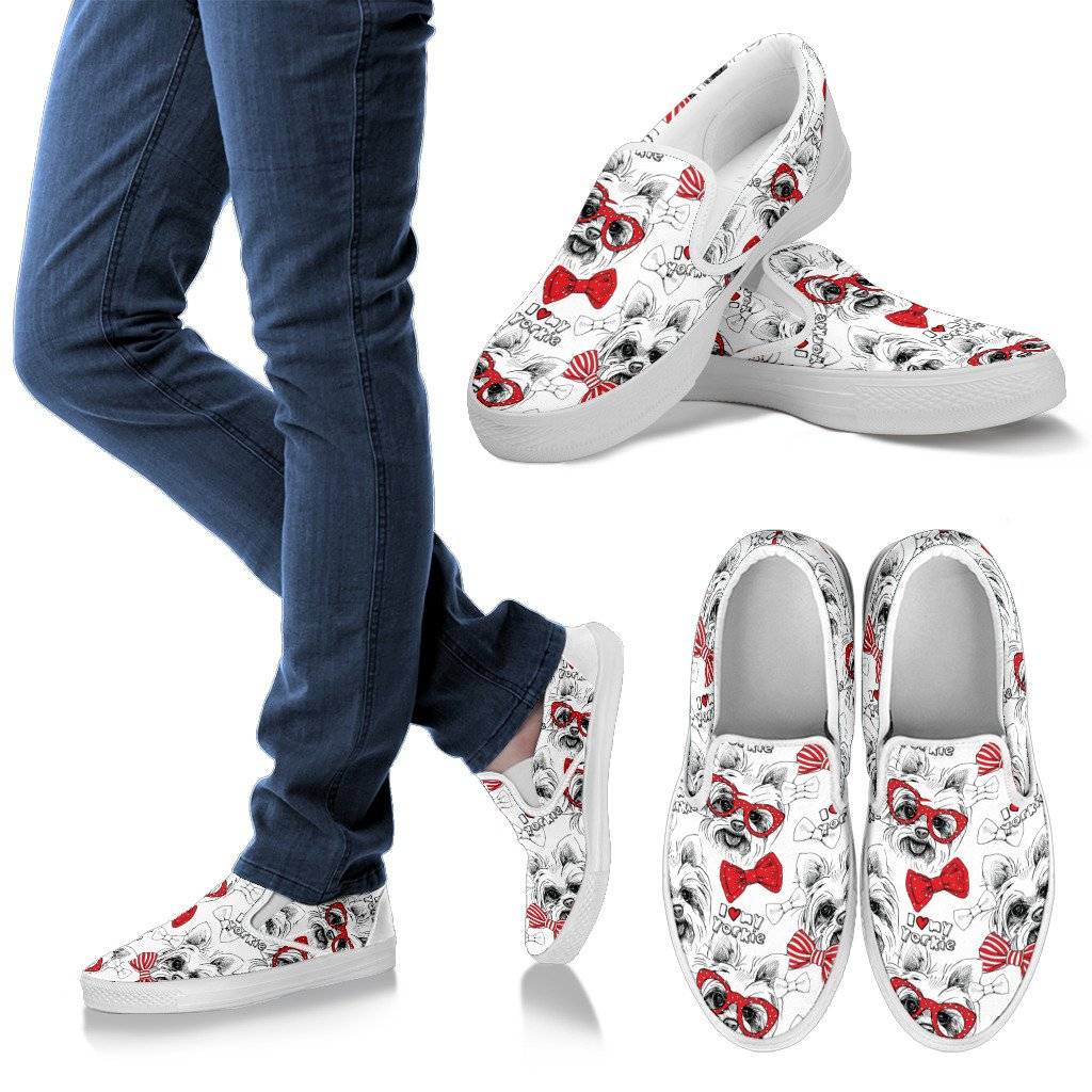 Happy Yorkie Slip Ons Pattern Shoes Youstatement Leggings Shoes