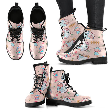 Womens Sheep Pattern Boots Shoes ( Peach)
