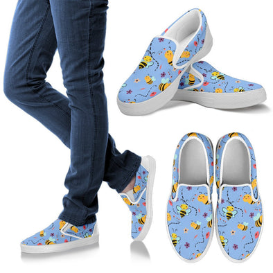 Bee Pattern Slip Ons (Blue)