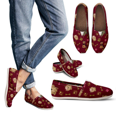 Yorkie Pattern Casual Shoes (Maroon)