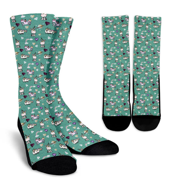 Unicorn Teal Pattern Socks