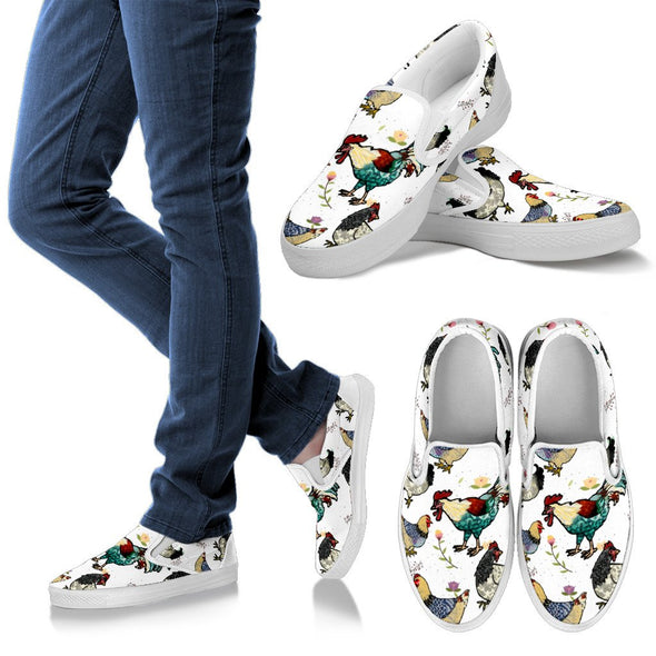 Chicken Rooster Pattern Slip Ons (White)