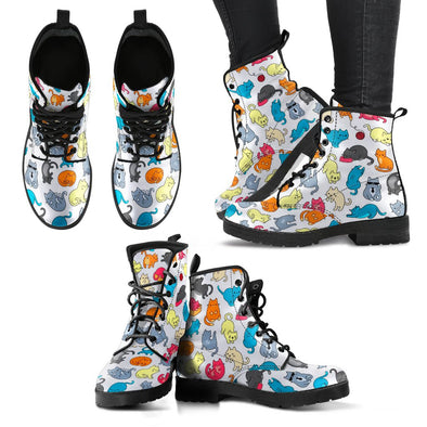 Cats Pattern Leather Boots